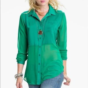 Free People Best Of Both Worlds Blouse Emerald s